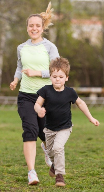 mom exercising with kid