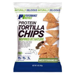 Front of mediterranean Flavor Keto Protein Tortilla Chips