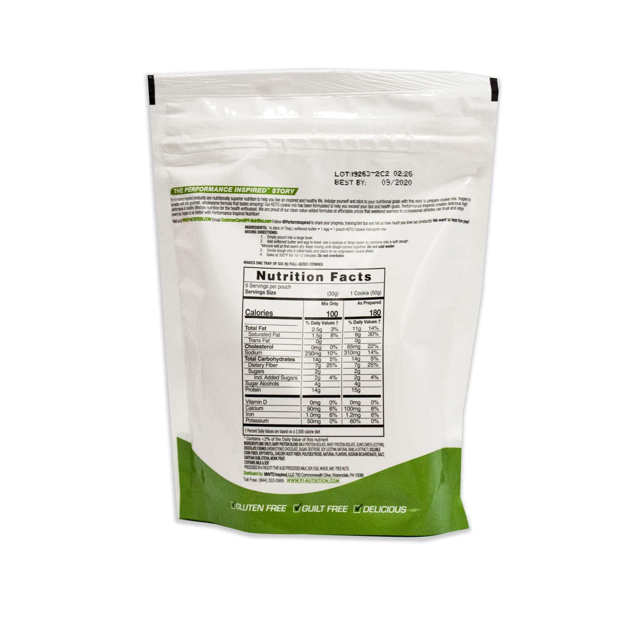 Keto Friendly cookie mix bag back