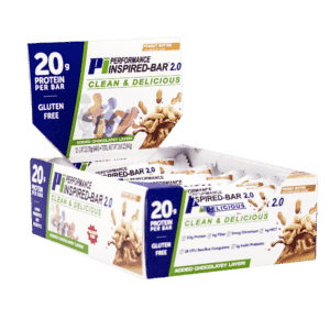 Inspired Bar 2.0 Peanut Butter left side angle box open 12 count box 2000 by 2000 300dpi